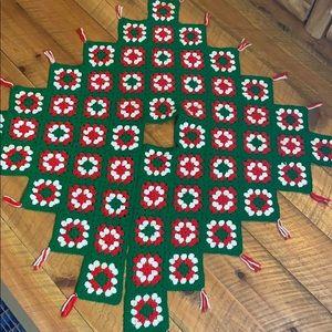 Handmade granny square crochet tree skirt